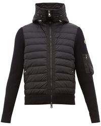 Moncler Hooded Quilted And Knitted Cardigan - Black