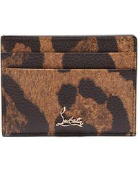 Christian Louboutin Kios Leopard-print Leather Cardholder - Brown