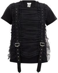 Noir Kei Ninomiya バックルストラップ チュールコットンtシャツ - ブラック