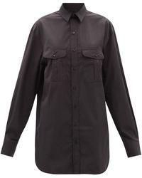 WARDROBE.NYC Robe-chemise courte en coton Release 06 - Noir