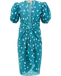 Adriana Degreas Knotted Polka-dot Cotton Cover Up - Blue