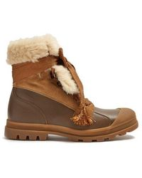 Chloé Parker Shearling-trimmed Leather Boots - Brown