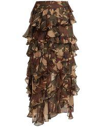Preen By Thornton Bregazzi Melena Camouflage-print Ruffle Skirt - Brown