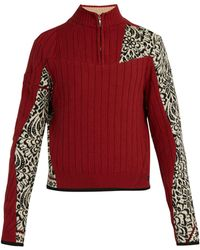 GmbH Arthur One Of A Kind Panelled Wool Sweater - Red