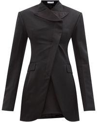 Maximilian Tobago Wool And Silk Longline Jacket - Black