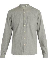 Oliver Spencer - Collarless Cotton Shirt - Lyst
