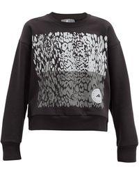 adidas By Stella McCartney レオパード オーガニックコットンブレンドスウェットシャツ - ブラック
