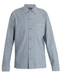 A.P.C. - Luca Point-collar Striped Cotton Shirt - Lyst