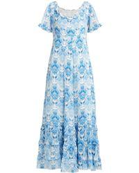 Athena Procopiou Kalua フローラルプリント シルクドレス - ブルー