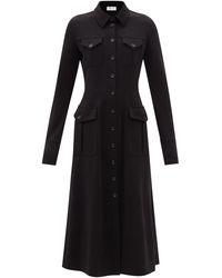 Sportmax オレンセ ウールジャージーシャツドレス - ブラック