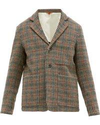 Barena Cimento Single Breasted Wool Houndstooth Blazer - Brown