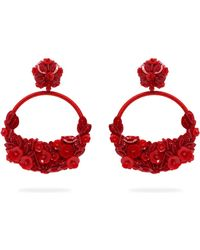 Oscar de la Renta - Floral Embellished Clip Earrings - Lyst