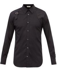Alexander McQueen ハーネス コットンポプリンシャツ - ブラック