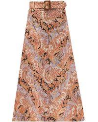 Zimmermann Wild Botanica Paisley-print Belted Linen Skirt - Brown