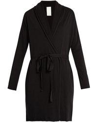 Skin Double Layer Pima Cotton Wrap Robe 34 Length - Black