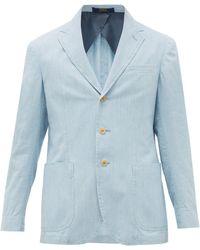 Polo Ralph Lauren Single-breasted Cotton-chambray Blazer - Blue