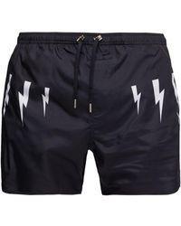 Neil Barrett Lightning Bolt Print Swim Shorts - Blue