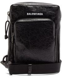 Balenciaga Explorer Crackled-leather Cross-body Bag - Black