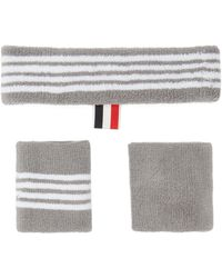 Thom Browne Four-bar Cotton-towelling Sweatband Set - Grey