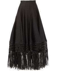 Gabriela Hearst Buckley Macramé-hem Wool-blend Maxi Skirt - Black