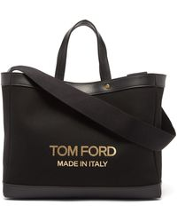 Tom Ford Tスクリュー キャンバストートバッグ - ブラック