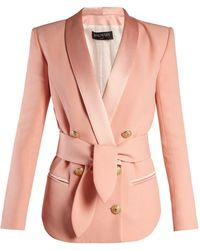 Balmain - Double Breasted Belted Crepe Blazer - Lyst