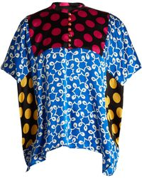 Duro Olowu Ivy Contrast Panel Silk Top - Blue