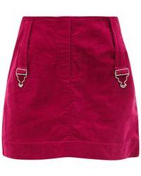Thebe Magugu Dungaree-strap Cotton-corduroy Mini Skirt - Red