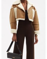 Jacquemus Paio Cropped Shearling-trim Leather Jacket - Multicolour