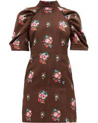 MSGM オープンバック フローラルジャカード ドレス - ブラウン