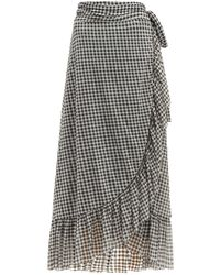 Ganni Ruffle-trim Gingham-print Mesh Wrap Skirt - Black