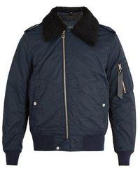 Rag & Bone - Shearling-collar Cotton-blend Bomber Jacket - Lyst