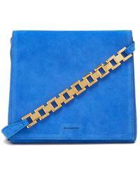 Jil Sander Small Suede Shoulder Bag - Blue