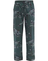 Desmond & Dempsey Bocas-print Cotton Pyjama Trousers - Green