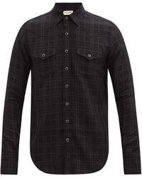 Saint Laurent メタリックチェック ウールブレンドシャツ - ブラック