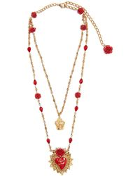 Dolce & Gabbana - Rose-embellished Double-chain Necklace - Lyst