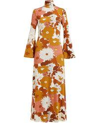 Dodo Bar Or Brigitte Floral-print Roll-neck Twill Dress - Multicolor