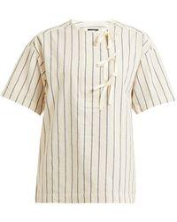 A.P.C. Putzie Striped Tie-placket Cotton Top - Natural