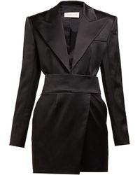 Alexandre Vauthier Tuxedo Jacket Satin Mini Dress - Black