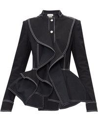 Alexander McQueen Topstitched Peplum-hem Denim Jacket - Black