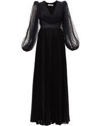 Givenchy チュールバルーンスリーブ シルクドレス - ブラック