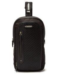 Ermenegildo Zegna Pelle Tessuta-woven Nylon And Leather Pouch Bag - Black