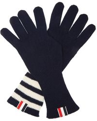 Thom Browne Tri-colour Striped-cuff Gloves - Blue