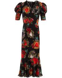 Dolce & Gabbana Secret Hearts Print Silk Blend Dress - Black