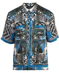 Meng Geometric Print Short Sleeved Silk Pajama Shirt - Blue