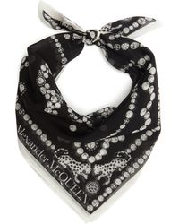 Alexander McQueen Logo-print Cotton-blend Bandana Scarf - Black