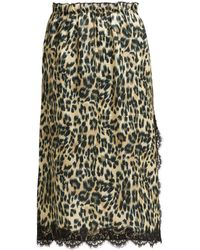Icons Carnation Leopard Print Satin Midi Skirt - Multicolor