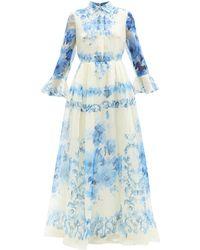 Valentino デルフトプリント シルクオーガンジードレス - ブルー