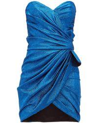 Saint Laurent Ruched Bow-embellished Silk-blend Mini Dress - Blue