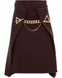 Bottega Veneta チェーン カシミアスカート - ブラウン